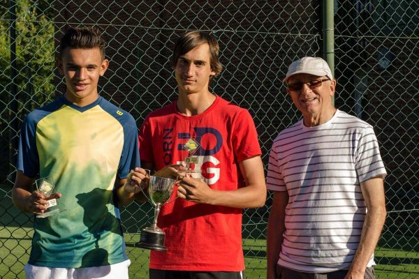 Dan, Kyle and Trevor - men's doubles champions